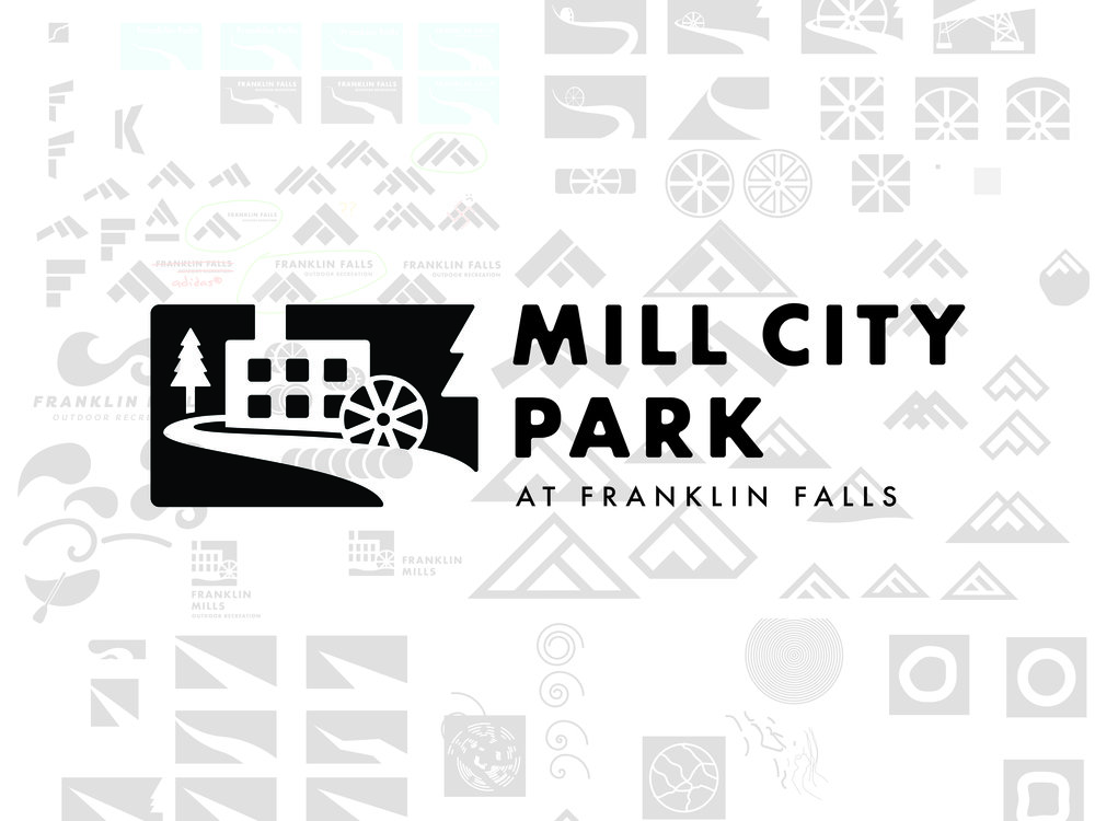 Each student in the class made hundreds of sketches and drafts before settling on a final design to enter in the competition. The center image is Justin Rand's winning logo that was selected by Mill City Park.