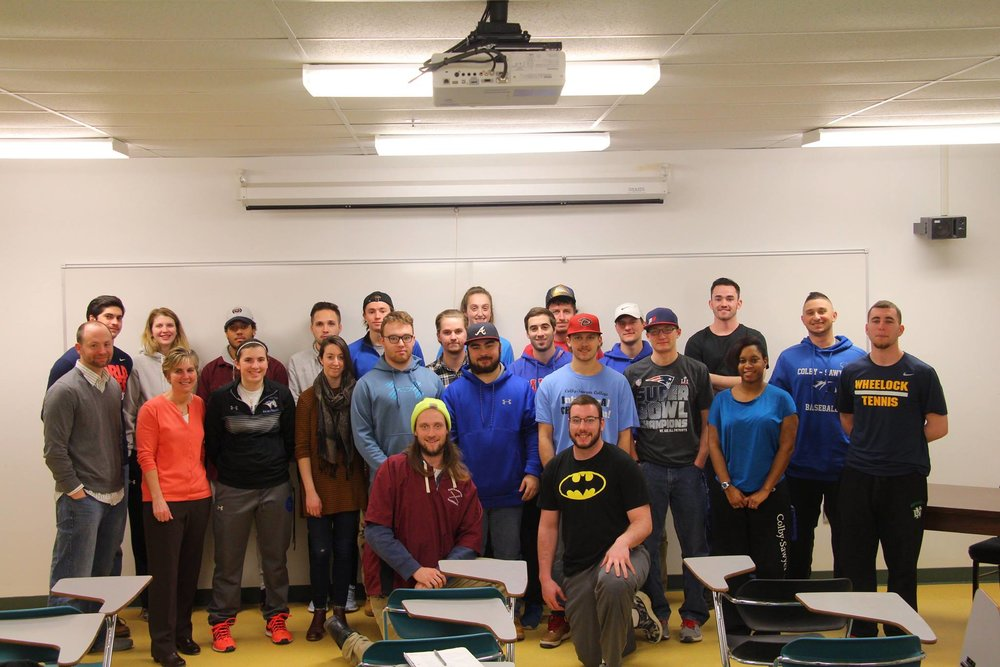 Professor Stacey Watts' Sport & Recreation Programming and Administration Class, meeting with Marty Parichand of ONE.