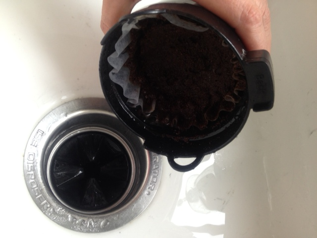 Coffee grounds and sink