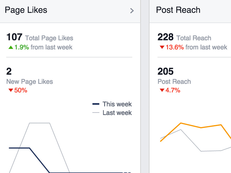 This week's Facebook stats compared to last week's. For instance, this week LNS had 2 new page likes compared to 4 from last week.