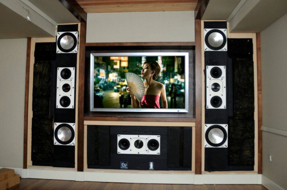 For servicing, the removable front panels expose the wall of sound that makes this room truly special. Read more about this room on our theater page