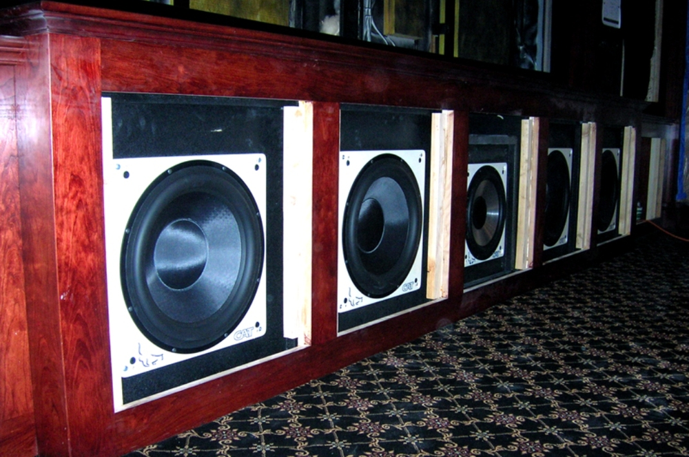 With the sub-woofers installed, this theater is only a few steps away from being complete