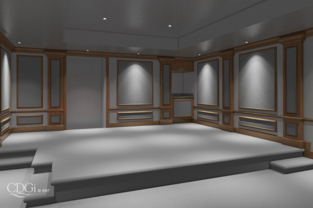 The rear of the rendered theater. Even in the built-in cabinetry is taken into consideration in the acoustic design of the room treatments
