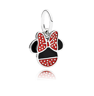 Minnie Mouse: Like Mickey, Minnie is represented with the same silhouette. However, Pandora has captured her timeless fashionista look by incorporating the signature polka-dot look and her iconic bow.