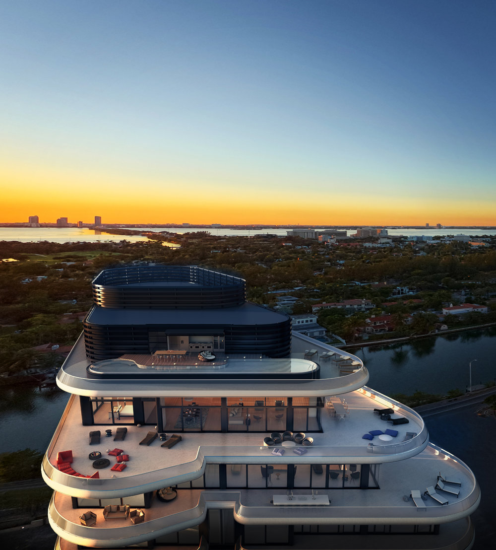 Aerial view of Faena House whose penthouse (an eight-bedroom, 12,516-square-foot unit featuring 9,900 square feet of exterior space and a 70-foot long rooftop pool) recently traded at $60 million.(Photo: Courtesy of The Faena Group)