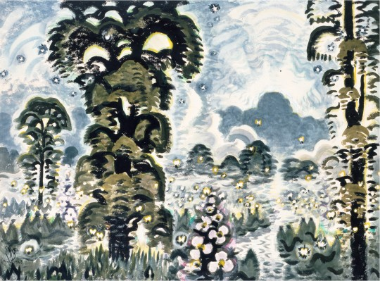 "Charles E. Burchfield,  Fireflies and Lightning , 1964-65, Watercolor, graphite and white charcoal, 40"" x 54"", Reproduced with permission of the Charles E. Burchfield Foundation"