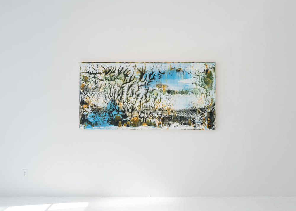 "Installation image of Karen Barth's  Winter , 2014, Archival pigment on paper, mounted on panel, 40"" x 80"""