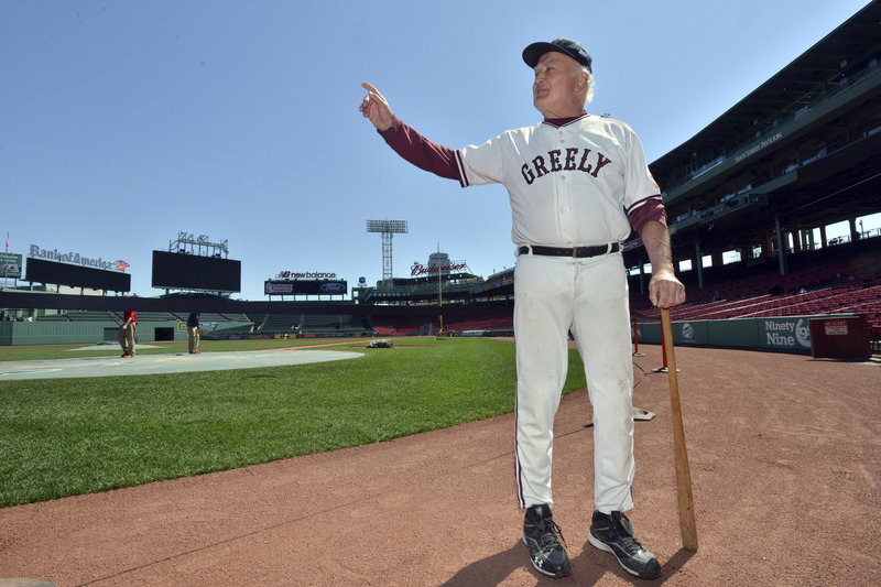 "Mort Soule at Fenway Park before his rendition of ""Casey at the Bat""."