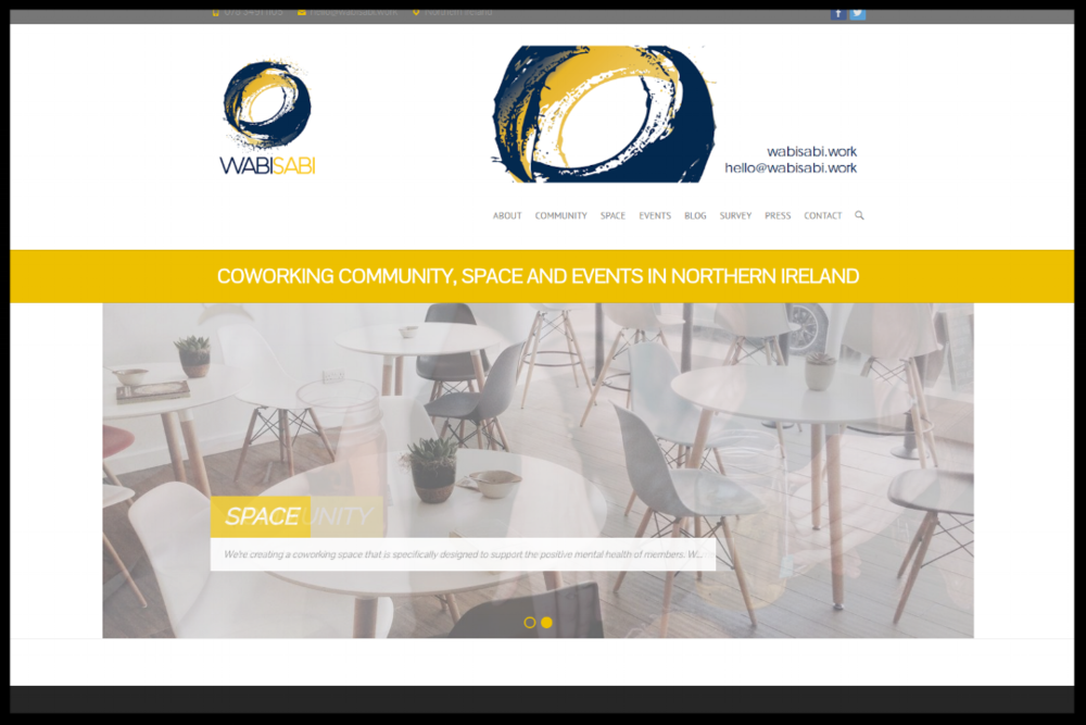 WABI SABI  COWORKING COMMUNITY, SPACE AND EVENTS IN NORTHERN IRELAND.  CREATING A COWORKING SPACE THAT IS SPECIFICALLY DESIGNED TO SUPPORT THE POSITIVE MENTAL HEALTH OF MEMBERS.   TYPE:  OWNER MANAGED COWORKING SPACE  QUICK CONTACT:  HELLO@WABISABI.WORK