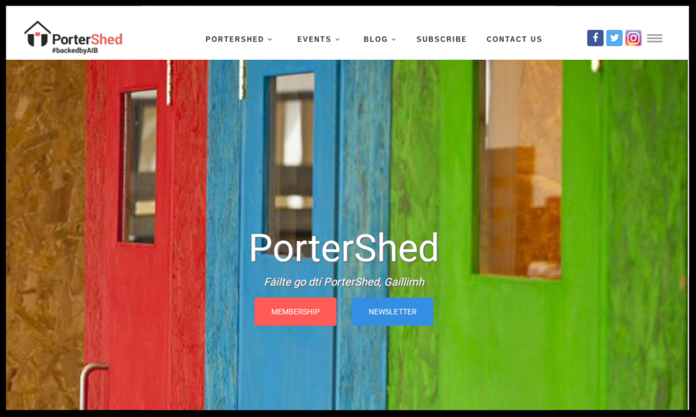 Portershed, Galway    the ultimate mashup of entrepreneurs, startups, growth companies, educational institutions, the Galway Chamber, state agencies and local government. TYPE:  INCUBATOR/ACCELERATOR Quick Contact:  info@portershed.com