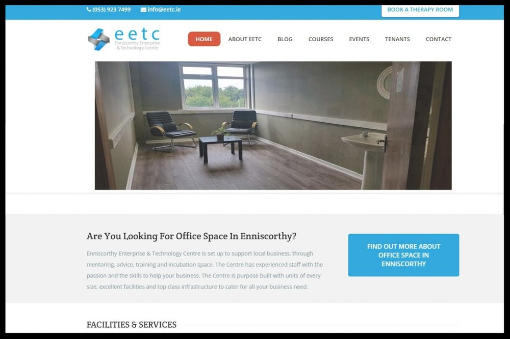 Enniscorthy Enterprise Centre  Office and coworking space set up to support local business, through mentoring, advice, training and incubation space.  TYPE:    Enterprise Centre with Coworking Space  QUICK CONTACT:   (053) 923 7499        info@eetc.ie