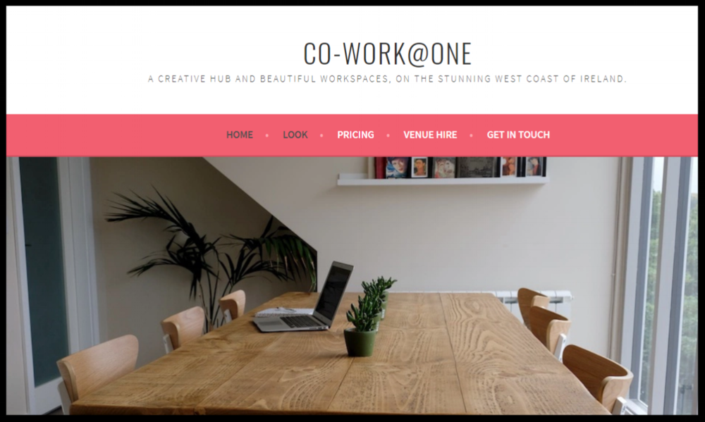 Co-Work@ONE  -   Picture this…a bright, modern, fully equipped workspace looking out over the green hills of the west coast of Mayo, just 5 minutes from the beach.  Surf, sand and sea on your doorstep.    QUICK CONTACT:   booksatone@gmail.com    +353 (0)85 218 2283