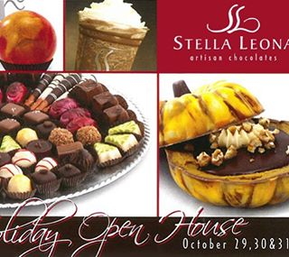 Please join us for our Holiday Open House this Thursday, Friday and Saturday! #artisanchocolate #chocolate #stellaleona #holidaychocolates #dessertpumpkin