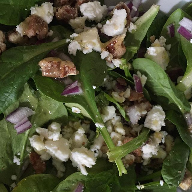 Our Orange Glazed Pecans are perfect on a summer salad with feta from Turkeyfoot Creamery! #stellaleonaartisanchocolates #pettisville #summersalad #turkeyfootcreamery #orangeglazedpecans
