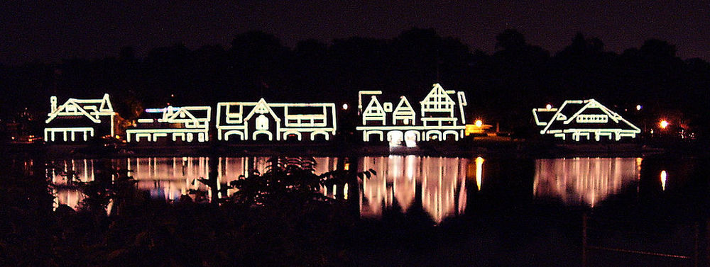 Boathouse Row at night via Wikipedia