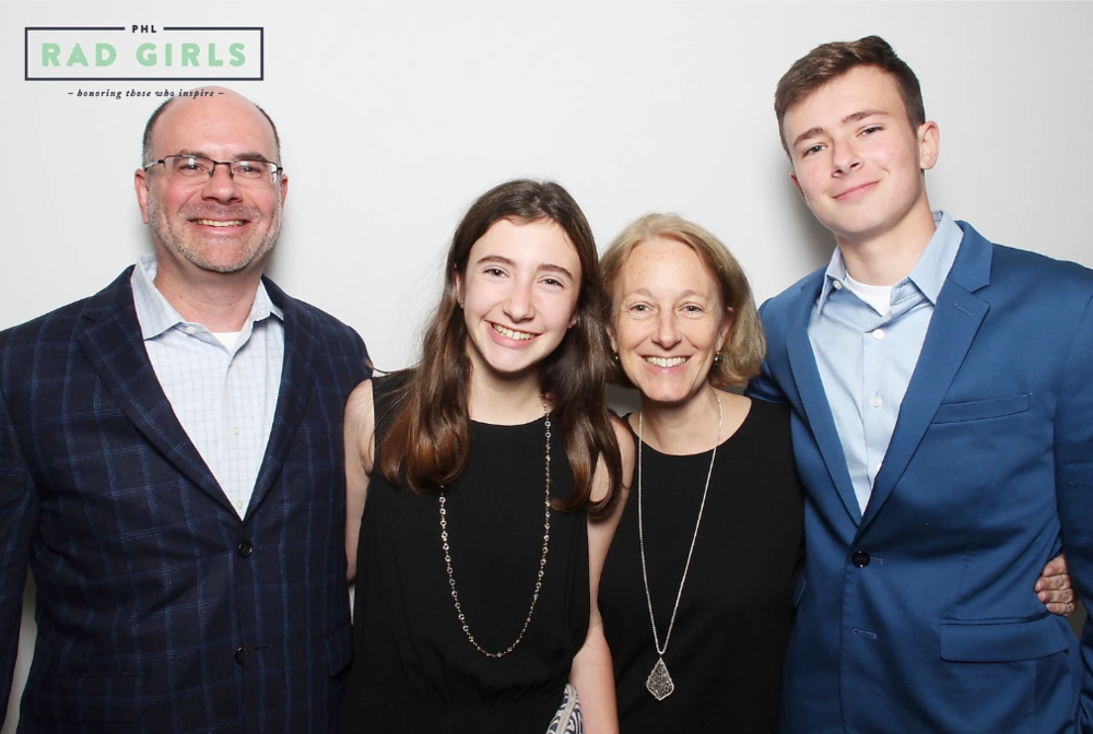 Anna Welsh and her family at Rad Girls Awards 2018