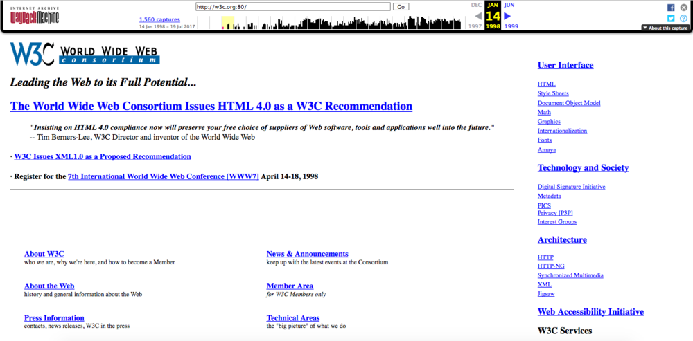 What the W3C website looked like on January 14, 1998 via the Wayback Machine.