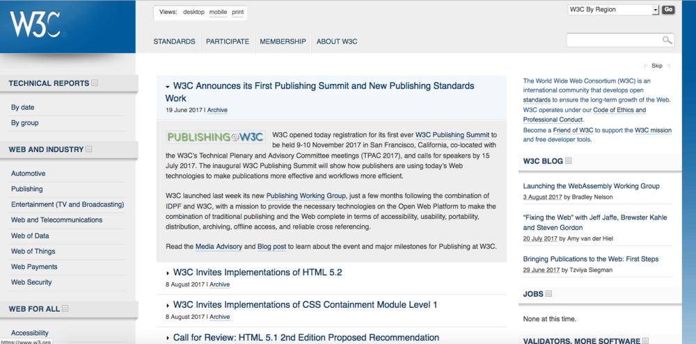 The W3C website today.