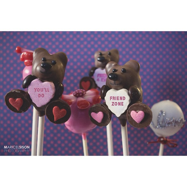 """Some of our """"Anti-VDAY"""" cake pops from a couple years ago to celebrate National Cake Pop Day! @bakerella we just ❤️you! (Photo by the very talented @msison @msisonphotography #cake #cakepops #foodie #handmade #instagood #igers #la #losangeles #dtla #noeycakes #pretty #sweettooth #snarky #chocolate"""