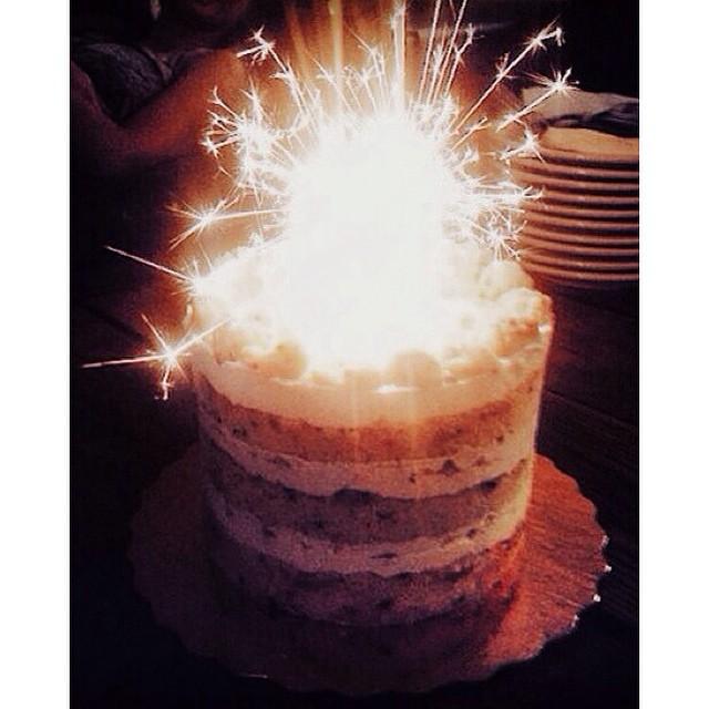 We don't do normal bday candles. ✨🌟💫💥🔥 #hbd #sparkles #cake #vsco #vscocam