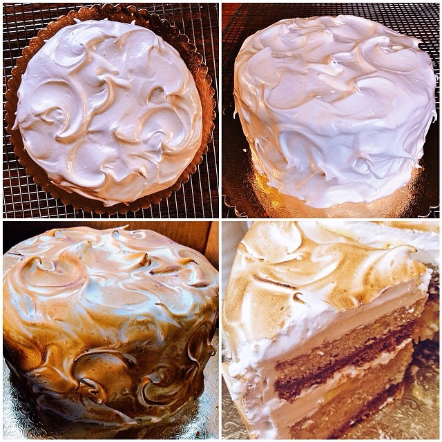 Meyer lemon layer cake with 2 layers of graham cracker crust, Meyer lemon curd filling, frosted with a toasted homemade Italian meringue #artisan #cake #cakes #dessert #dessertporn #foodie #foodporn #handmade #instagood #iphoneonly #instafood #lemon #meyerlemon #nom #noeycakes #pretty #sweettooth #la #laeats #losangeles #santamonica #treats #yum  (at NoeyCakes HQ)