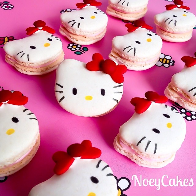 #tbt to our Hello Kitty macarons! We're so flattered that these little babies have been reposted and tagged all over the place during the past week! They will be getting a makeover, so keep an eye on our feed! #artisan #cute #dessert #dessertporn #edibleart #foodie #foodporn #handmade #iphoneonly #instagood #igers #macaron #macarons #macaronstagram #nom #noeycakes #pretty #frenchmacarons #santamonica #la #laeats #losangeles #sweettooth #yum #hellokitty