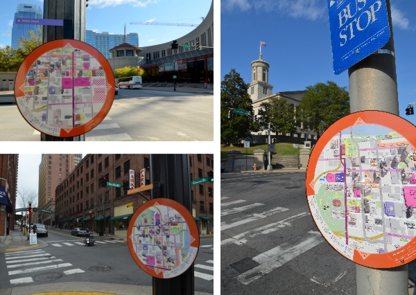 Personal map stations in Downtown Nashville