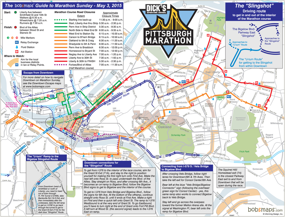 ESCAPE FROM PITTSBURGH DURING MARATHON ROAD CLOSURES — Informing