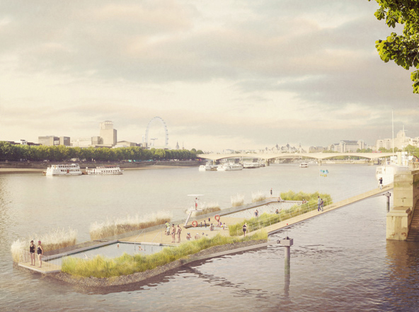 Artist's impression of the Thames Baths project from Chris at Studio Octopi. Photograph: Studio Octopi