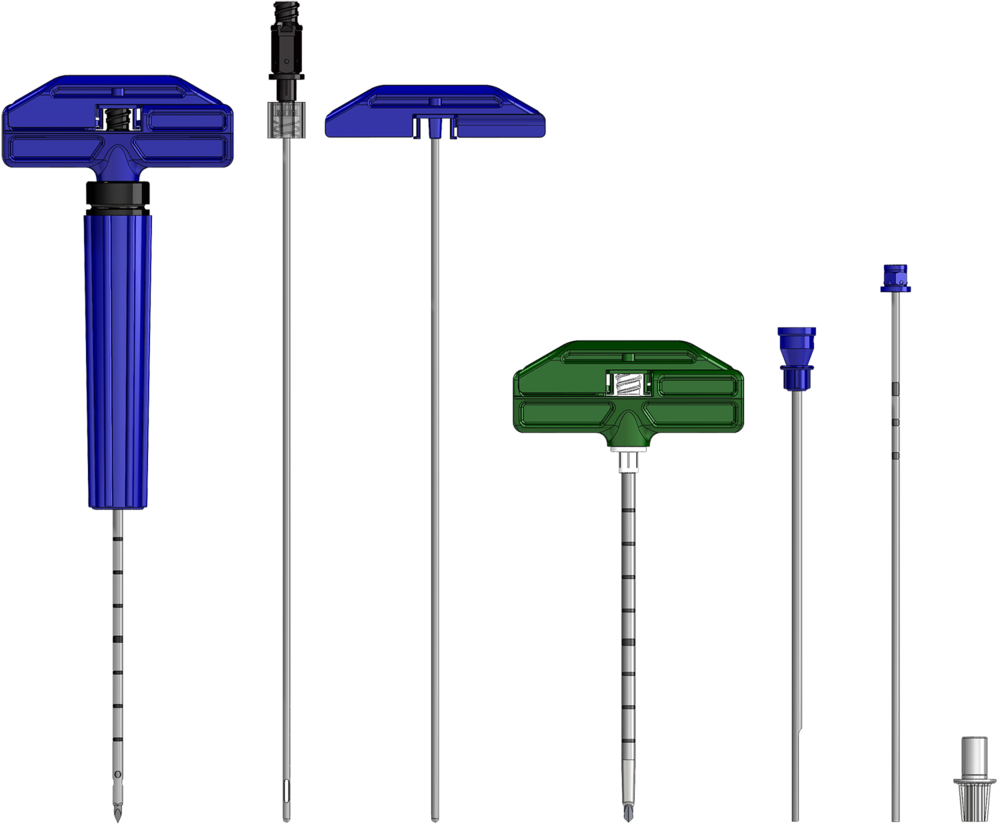 MC-RAN-8C Components (from left): Marrow Cellution Introducer Needle, Aspiration Cannula, Blunt Stylet, 8 Gauge Trephine Needle, Extraction Tool, Measurement Probe, Tip Guard