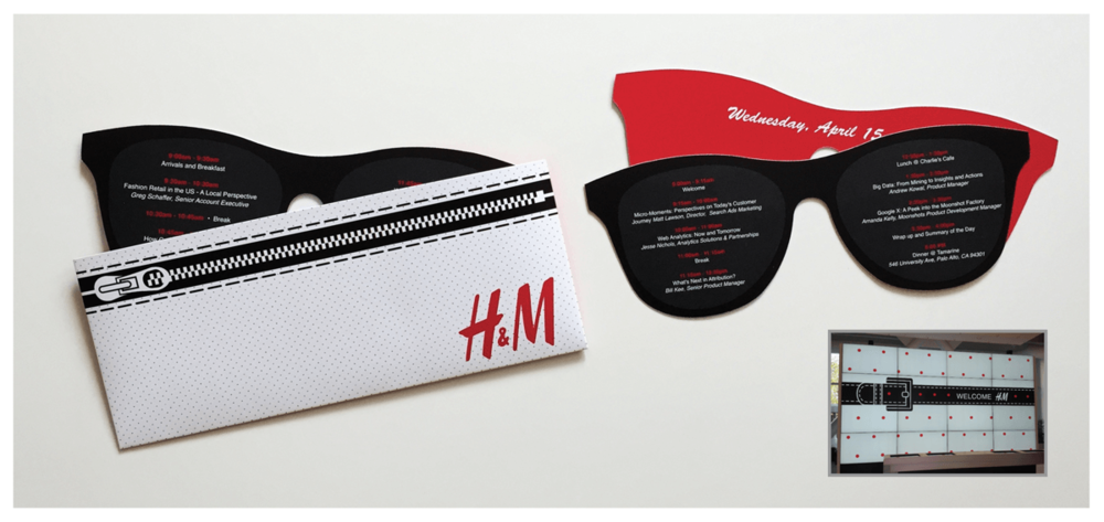 GOOGLE Project: Executive Summit Event Collateral for H&M. Agenda Schedule as die cut sunglasses case and welcome conference signage.