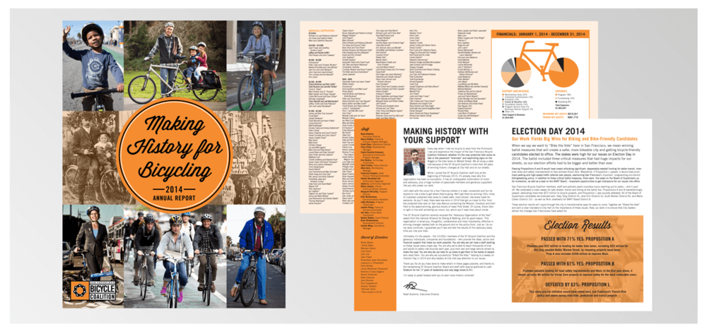 SAN FRANCISCO BIKE COALITION Project:  Annual Report Design. Membership-based advocacy  organization  working to promote the bicycle for everyday transportation.