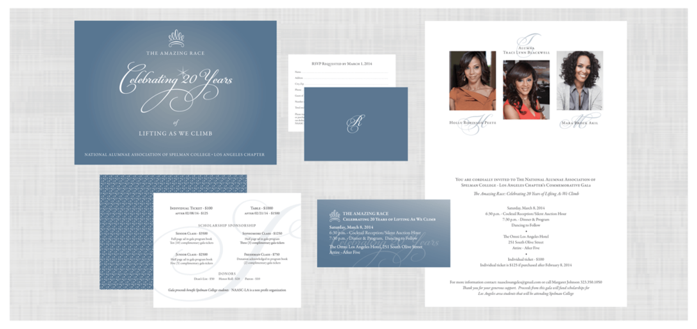 SPELMAN COLLEGE Project: Invitation Design for a gala event celebrating 20 years. National Alumnae Association - Los Angeles Chapter.