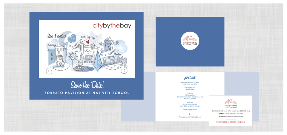 NATIVITY SCHOOL Project: Invitation Design and custom illustration for a silent auction and dinner at a private school.