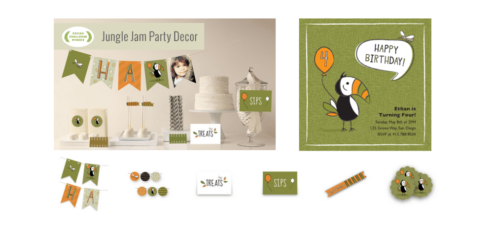 MINTED STATIONERY + EVENTS PARTY DECOR Project: A whimsical children's party collection including invite, banner, stickers, centerpiece, table signs and more.