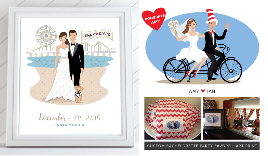 Custom Wedding Caricatures Bride and Groom Illustrations