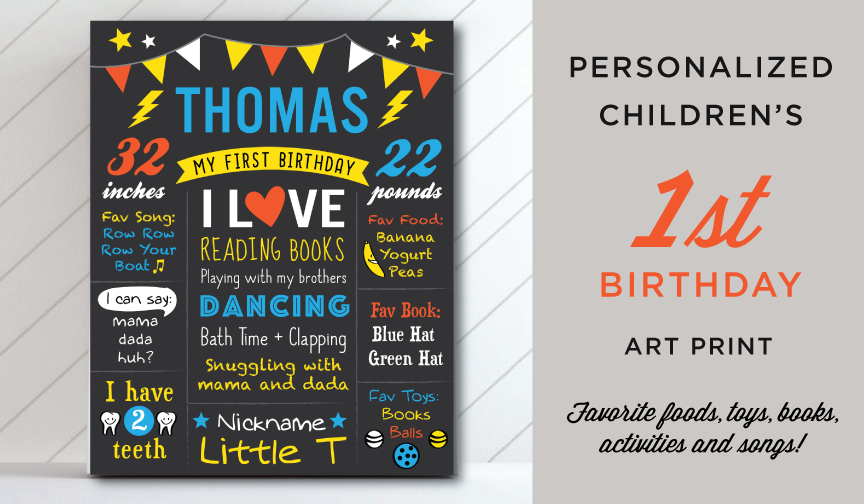 Personalized Children's Birthday Art Print Announcement