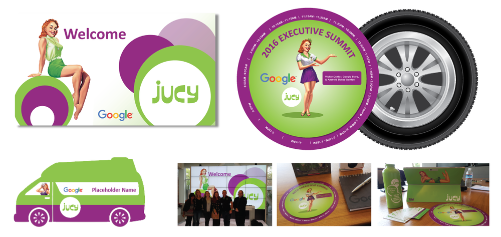GOOGLE Project: Executive Summit Event Collateral for JUCY Campervan. Agenda Schedule (rotating wheel), Name Badges, and Welcome Slide.