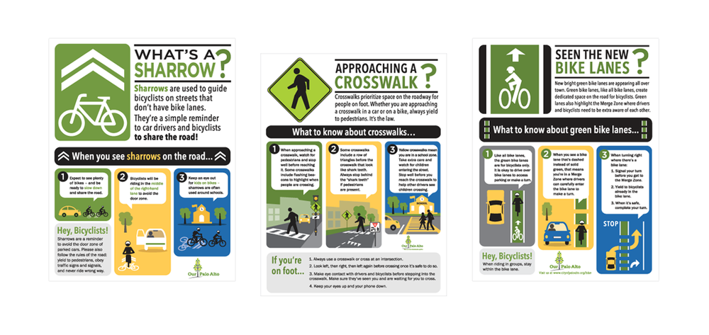 SILICON VALLEY BIKE COALITION   Project:  Series of print ad infographics to promote traffic safety in Downtown Palo Alto, California.