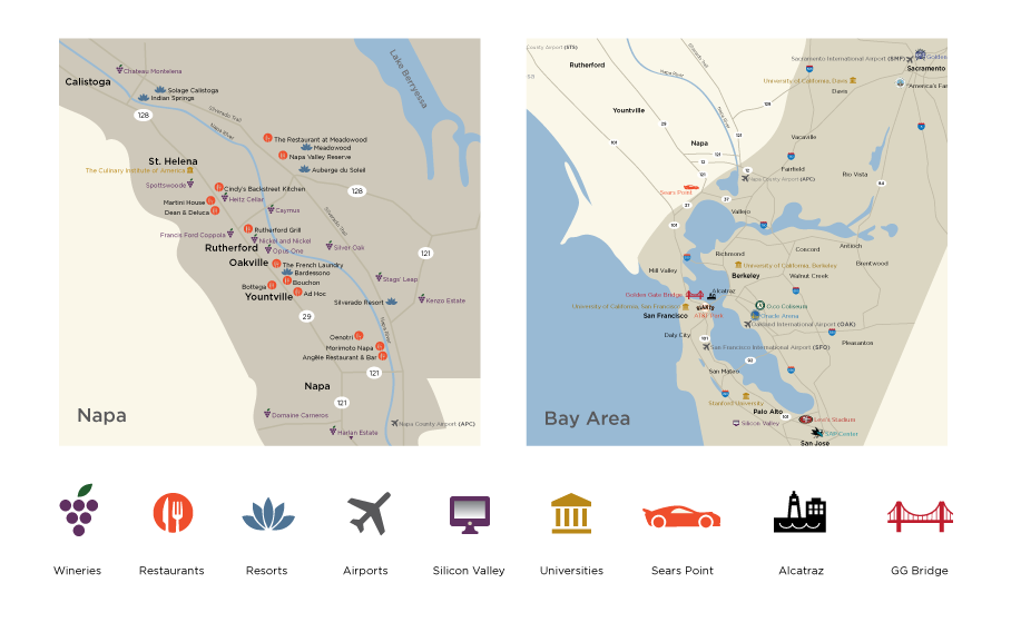 Custom Map Illustration Napa Valley and Bay Area