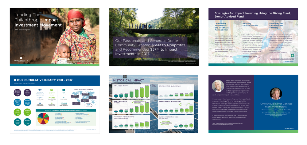 IMPACT ASSETS   Project:  Annual Report Design.  ImpactAssets  creates opportunities for investors and philanthropists to make the world a better place by managing their portfolios with equal regard for problem solving and profit. A nonprofit financial services company.