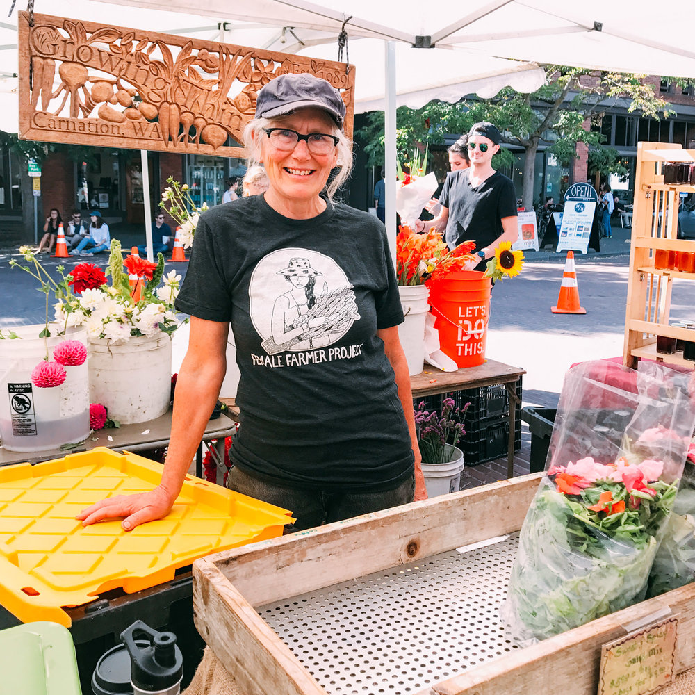 Michaele of  Growing Things Farm  at the  Ballard Farmers Market  - you can wear your tee to the market!