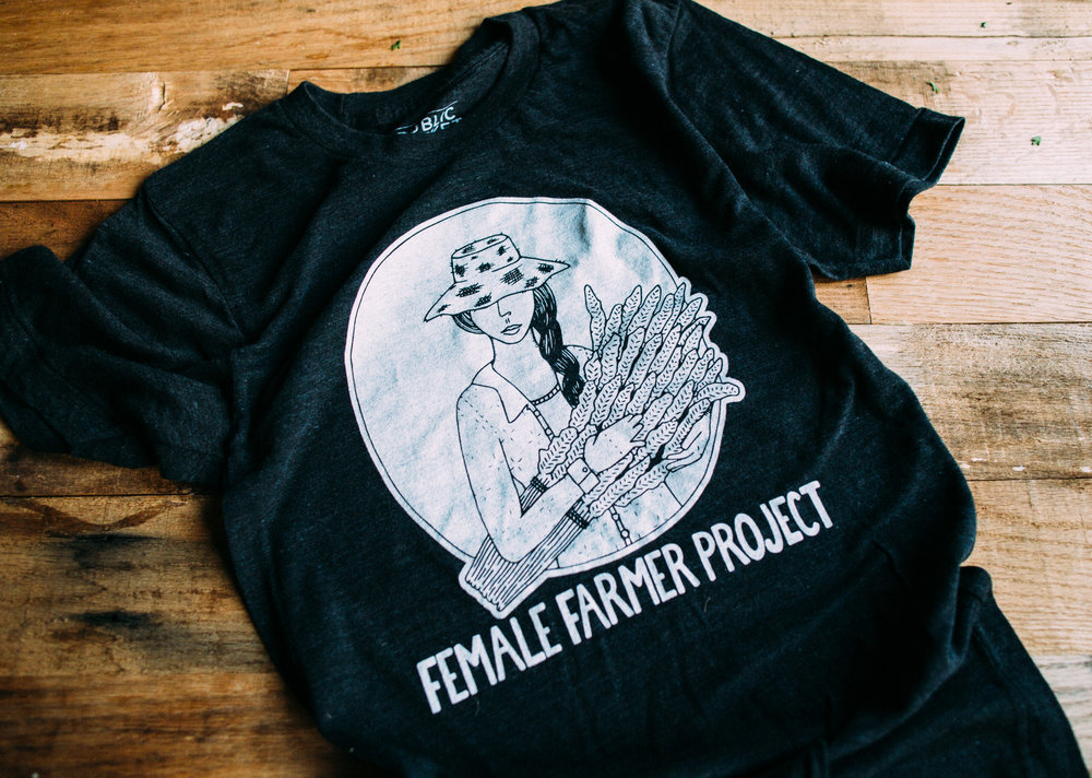 Post a picture of yourself in your FFP tee and tag @rootedinthevalley #femalefarmerproject