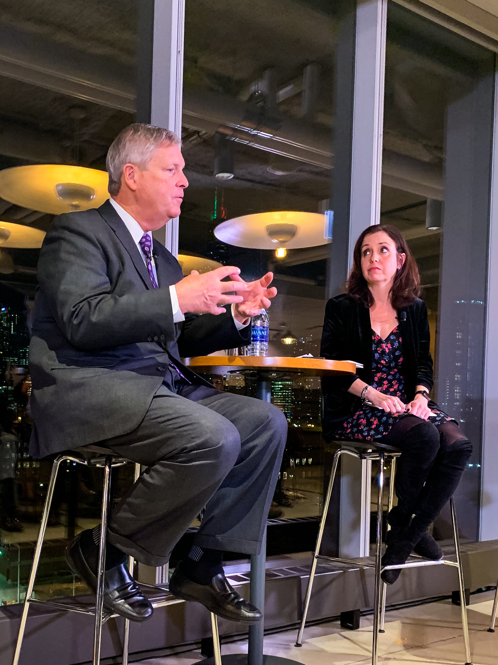 Former USDA Secretary of Agriculture Tom Vilsack with Danielle Nierenberg of Food Tank