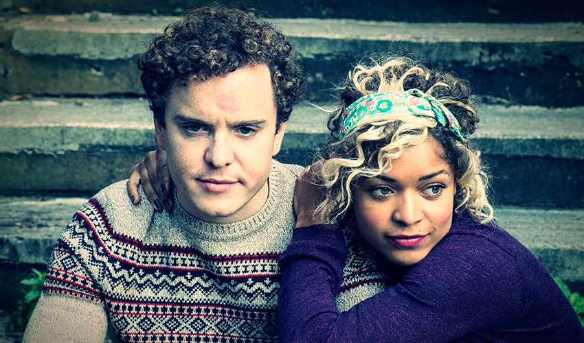 Joshua McGuire and Antonia Thomas in Scrotal Recall
