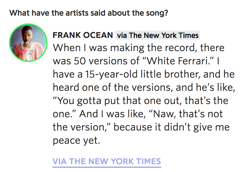 frank says there are 50 versions of white ferrari live for the funk