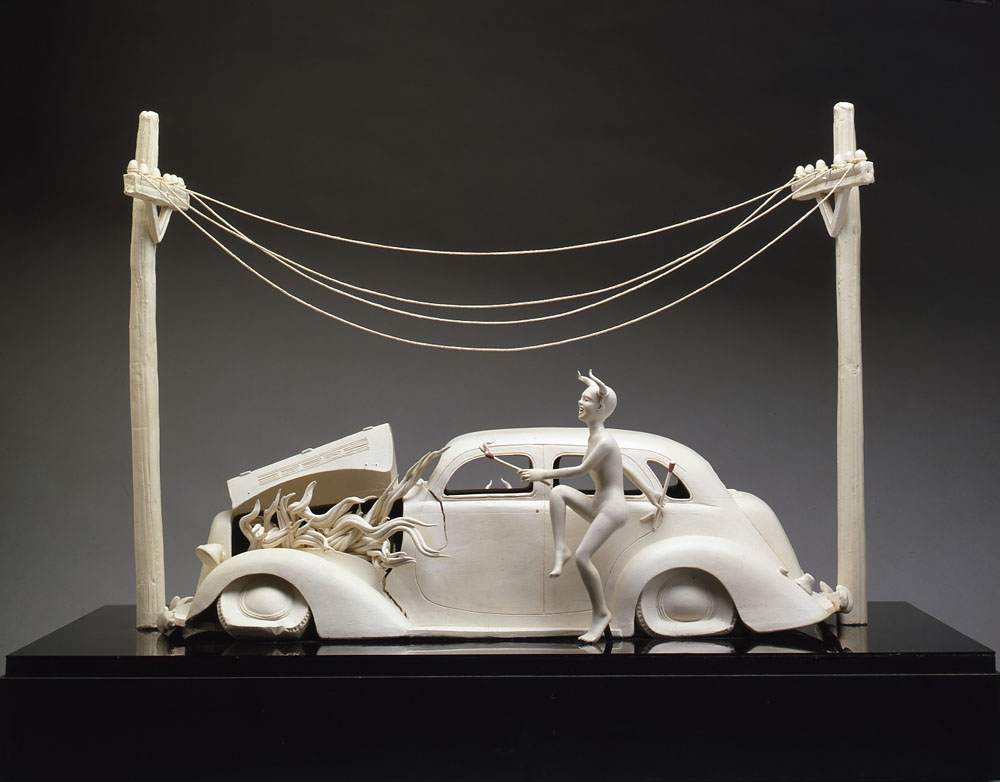 _High Tension Wire_ (1982), 30.5 x 39 x 22 HWD in., Low-Fire Clay, Mixed Media.   Photo Credit_   Roger Schreiber.jpeg