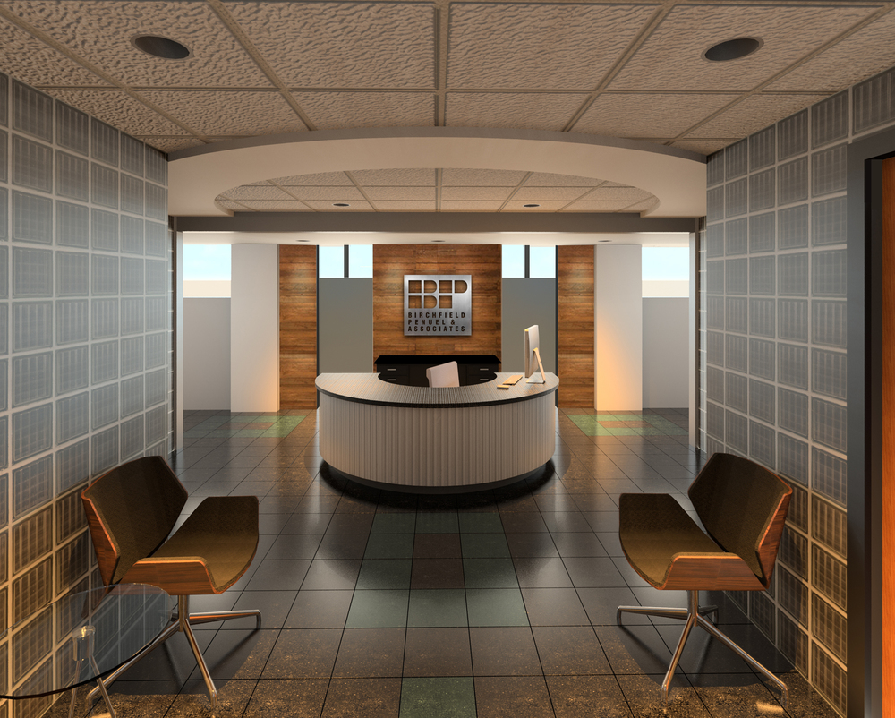 Rendering of what we're working towards -- a sleek and modern, yet warm and inviting entrance to BPA.