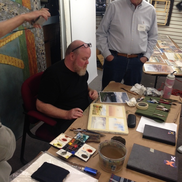 Day 1: Iain Stewart demonstrates watercolor wash tips and techniques