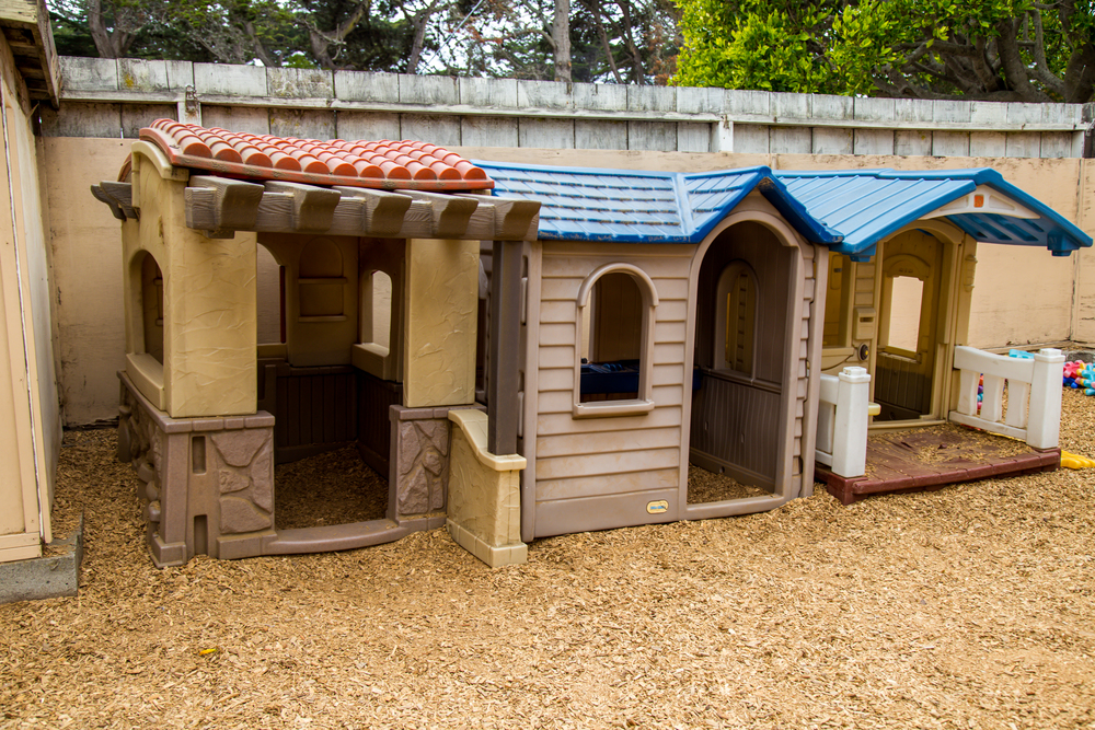 Children love to come to the playhouses for a quieter atmosphere in the midst of a busy yard.
